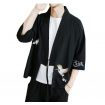 [#2]Mens Standing Collar Cotton and Linen Chinese Half Sleeve KungFu Cloth Men's Shirt Outerware, Black