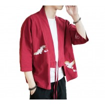[#2]Mens Standing Collar Cotton and Linen Chinese Half Sleeve KungFu Cloth Men's Shirt Outerware, Wine red