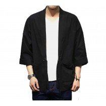 [#3]Mens Standing Collar Cotton and Linen Chinese Half Sleeve KungFu Cloth Men's Shirt Outerware, Black