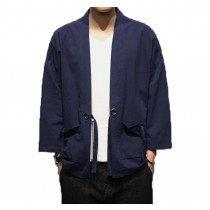 [#3]Mens Standing Collar Cotton and Linen Chinese Half Sleeve KungFu Cloth Men's Shirt Outerware, Navy blue