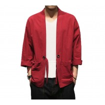 [#3]Mens Standing Collar Cotton and Linen Chinese Half Sleeve KungFu Cloth Men's Shirt Outerware, Red