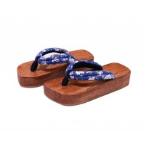 Japanese Style Wooden Clogs Womens Geta Sandals Blue and White Pattern Platform Shoe