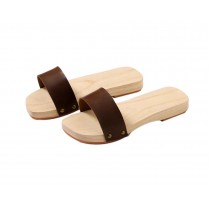 Wooden Clogs for Womens Casual style Geta Breathable Slipper Indoor Outdoor, Brown
