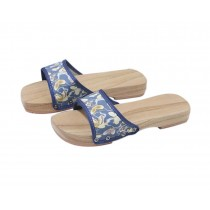 Wooden Clogs for Womens Blue Butterfly Pattern Breathable Slipper Indoor Outdoor