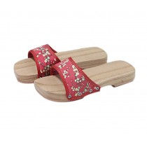 Wooden Clogs for Womens Red Plum Blossom Pattern Breathable Slipper Indoor Outdoor