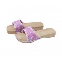 Wooden Clogs for Womens Pink Plum Blossom Pattern Breathable Slipper Indoor Outdoor