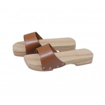 Wooden Clogs for Womens Casual style Geta Breathable Slipper Indoor Outdoor, Coffee