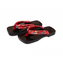 Japanese Style Wooden Clogs Womens Coating Sandals Red Flowers Pattern Geta