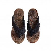 Creative Wooden Clogs Casual style Handmade Womens Flip Flops for Beach and Vacation, Black