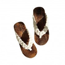 Creative Wooden Clogs Casual style Handmade Womens Flip Flops for Beach and Vacation, Beige