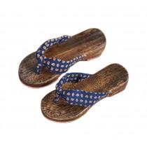 Womens Clogs Wood & Cloth Sandals Geta Breathable Casual Flip Flops Deep Blue Pattern