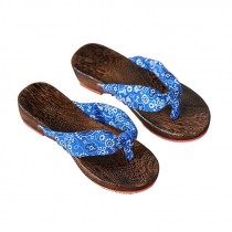 Womens Clogs Wood & Cloth Sandals Geta Breathable Casual Flip Flops Blue and White Pattern