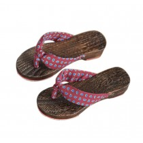 Womens Clogs Wood & Cloth Sandals Geta Breathable Casual Flip Flops Red wine