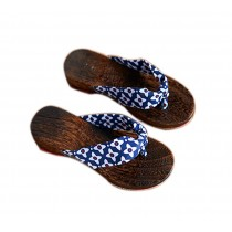 Womens Clogs Wood & Cloth Sandals Geta Breathable Casual Flip Flops Blue and White