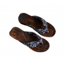 Womens Clogs Wood & Cloth Sandals Geta Breathable Casual Flip Flops Black and White