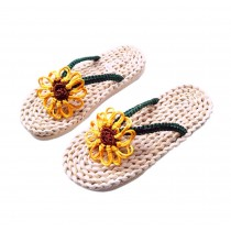Handmade Straw Sandals Womens Natural Straw Flats Flip Flops Casual Sunflower pattern