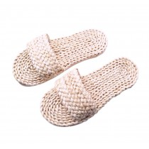 Handmade Straw Sandals Womens Natural Straw Flats Casual Style Woven Slippers