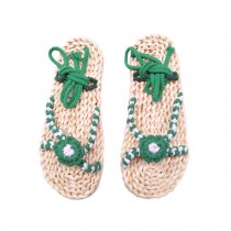 Handmade Straw Sandals Womens Natural Straw Flats Casual Style Woven Slippers Green