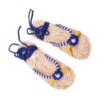 Handmade Straw Sandals Womens Natural Straw Flats Casual Style Woven Slippers Blue