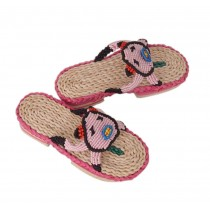 Natural Handmade Straw Sandals Womens Woven Flats Slippers Casual Style Pig Pattern