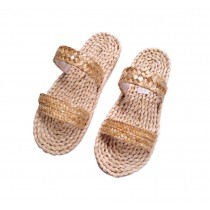 Natural Handmade Straw Sandals Womens CreativeWoven Flats Slippers Casual Style