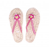 Handmade Woven Slippers Rose red Straw Sandals Casual style Flip Flops for Womens