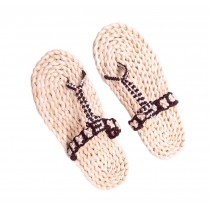Handmade Woven Slippers Black and White Straw Sandals Casual style Flip Flops for Womens