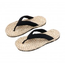 Mens Straw Woven Slippers Handmade Sandals Black Lacing Casual Style Flip Flops