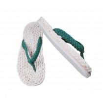 Mens Straw Woven Slippers Handmade Sandals Green Lacing Casual Style Flip Flops