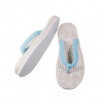 Mens Straw Woven Slippers Handmade Sandals Blue Lacing Casual Style Flip Flops
