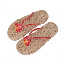 Handmade Woven Slippers Straw Sandals Casual style Flip Flops for Womens Butterfly Pattern