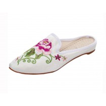 Women's Pointed Toe Backless Slippers Embroidery Lazy Loafers Flat Shoes, White