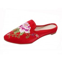 Women's Pointed Toe Backless Slippers Embroidery Lazy Loafers Flat Shoes, Red