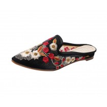 Women's Pointed Toe Backless Slippers Floral Embroidery Lazy Loafers Flat Shoes, Black