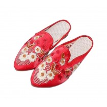 Women's Pointed Toe Backless Slippers Floral Embroidery Lazy Loafers Flat Shoes, Red
