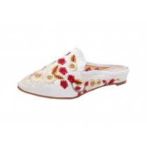 Women's Pointed Toe Backless Slippers Floral Embroidery Lazy Loafers Flat Shoes, White