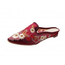 Women's Pointed Toe Backless Slippers Floral Embroidery Lazy Loafers Flat Shoes, Wine red