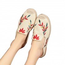 Women's Linen Backless Sandals Casual Embroidery Lazy Loafers Flat Shoes, White