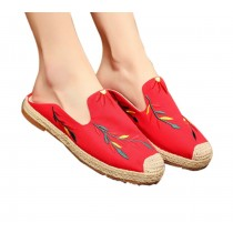 Women's Linen Backless Sandals Casual Embroidery Lazy Loafers Flat Shoes, Red