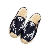 Women's Linen Backless Sandals Casual Embroidery Lazy Loafers Flat Shoes, Black