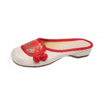 Women's Linen Backless Slippers Sandals Casual Lazy Loafers Flat Shoes, Red