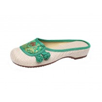 Women's Linen Backless Slippers Sandals Casual Lazy Loafers Flat Shoes, Green