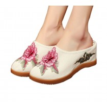 Women's Linen Backless Wedge Shoes Casual Heightening Slippers Breathable, White