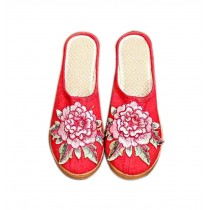 Women's Linen Backless Wedge Shoes Casual Heightening Slippers Breathable, Red