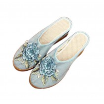 Women's Linen Backless Wedge Shoes Casual Heightening Slippers Breathable, Light blue