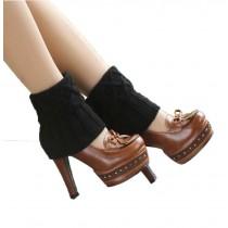 Women's Short Boots Socks Knitted Boot Cuffs Ladies Leg Warmers Socks Black Rhomb pattern