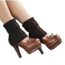 Women's Short Boots Socks Knitted Boot Cuffs Ladies Leg Warmers Socks, Coffee Rhomb Pattern