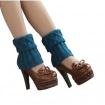 Women's Short Boots Socks Knitted Boot Cuffs Ladies Leg Warmers Socks, Blue Rhomb Pattern