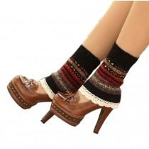 Women's Short Boots Socks Knitted Boot Cuffs Ladies Leg Warmers Socks Lace Edge, Black