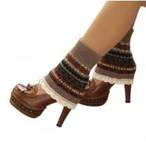 Women's Short Boots Socks Knitted Boot Cuffs Ladies Leg Warmers Socks Lace Edge, Khaki